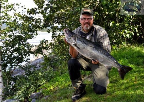 laxen in och vågen stannar på 8,78 kg i lyckat laxfiske i indalsälven på fisketidning