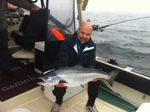 en lax på 12,8 kg i fiskerapport från södra östersjön i fisketidning