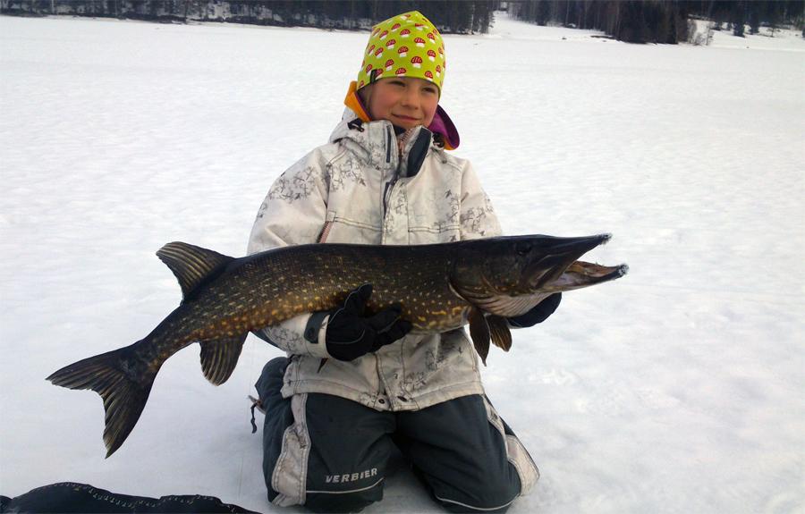 Nellie Svärd 8 år från Arbrå med sin första ismete-gädda som vägde fina 6 kg och var 107 cm lång.